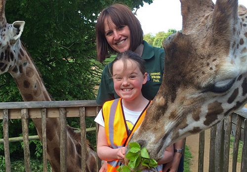 Hayley with Junior Keeper and Giraffes